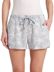 Splendid Pinstriped Palm Tree Drawstring Shorts Light Wash