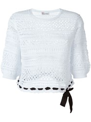 Red Valentino Open Lace Cropped Top White