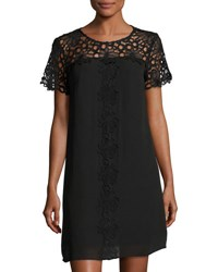 Nanette Nanette Lepore Short Sleeve Lace Yoke Shift Dress Black