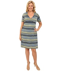 Poppy And Bloom Plus Size Working Through Lunch Dress Blue Green Chevron Women's Dress