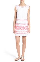 Women's Vineyard Vines 'Caribbean' Embroidered Cotton Linen Shift Dress