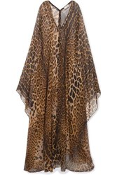 Saint Laurent Leopard Print Silk Chiffon Maxi Dress Brown