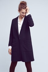 Anthropologie Pinstripe Knit Oversized Blazer Blue Motif