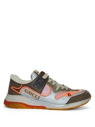 Gucci Ultrapace Distressed Leather And Suede Trainers Silver