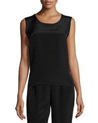 Caroline Rose Silk Crepe Mid Length Tank Black