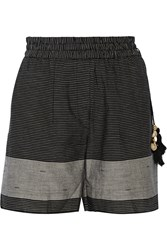 Day Birger Et Mikkelsen Day Caftan Striped Cotton Shorts Black