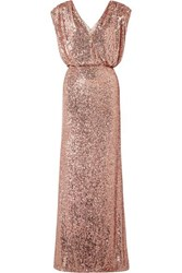 Monique Lhuillier Wrap Effect Sequined Stretch Tulle Gown Pink