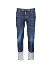 Dsquared Contrast Cuff Slim Fit Jeans Blue