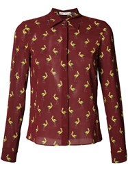 Alice Olivia Bird Print Shirt Red