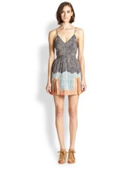 Twelfth St. By Cynthia Vincent Double Slit Printed Cotton Silk Dress Paisley