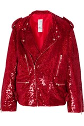 Ashish Sequined Cotton Biker Jacket Crimson