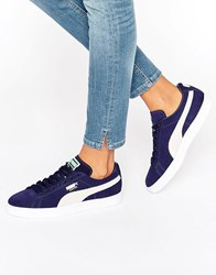 Puma Classic Suede Trainers In Navy Navy Blue