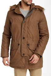Cole Haan Faux Fur Trim Brushed Cotton Anorak Brown