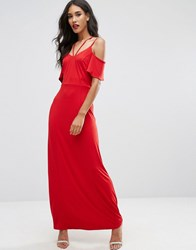 Asos Cold Shoulder Strappy Maxi Dress Red
