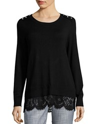 Karl Lagerfeld Crewneck Long Sleeve Knit Top Black