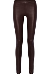 The Row Moto Stretch Leather Leggings Merlot