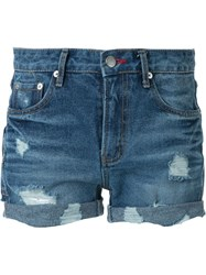 Guild Prime Destroyed Denim Shorts Blue
