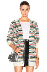 Saint Laurent Oversized Cardigan In Stripes Abstract White Stripes Abstract White