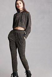 Forever 21 High Waisted Glitter Knit Pants Black Gold