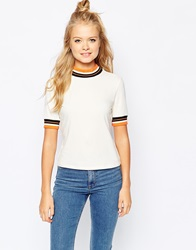 Monki Tee With Contrast Trim Beige