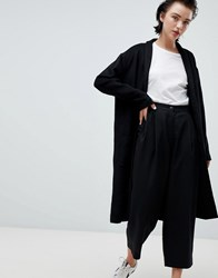 Weekday Drapey Knit Coat In Black