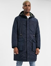 Armani Exchange Longline Padded Parka With Back Taping In Navy