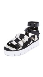 Msgm Multi Strap Sandals Black White