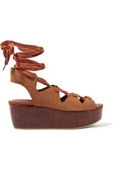 See By Chloe Lace Up Suede Platform Sandals Light Brown