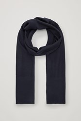 Cos Merino Scarf With Ribbed Edges Blue