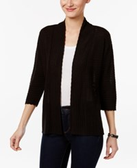 Ny Collection Petite Pointelle Open Front Cardigan Black