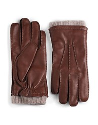 Black Brown Cashmere Lined Cuffed Leather Gloves Saddle