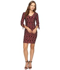 Laundry By Shelli Segal Tie Sleeve Printed Matte Jersey Dress Sultry Red Women's Dress
