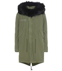 Mr And Mrs Italy Xquili Cotton Parka With Fur Trimmed Hood Green
