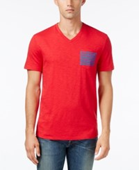 Tommy Hilfiger Men's Social Graphic Print V Neck T Shirt Tango Red
