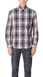 Gitman Brothers Vintage Long Sleeve Plaid Flannel Shirt Navy White