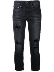R 13 R13 Cropped Distressed Jeans Black