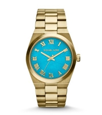 Michael Kors Channing Turquoise And Gold Tone Watch