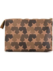 Ports 1961 Star Camouflage Print Clutch Brown