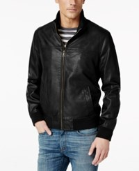 Tommy Hilfiger Big And Tall Faux Leather Stand Collar Bomber Jacket Black