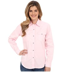 Roper L S Solid Basic Snap Front Pink Women's Long Sleeve Button Up