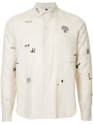 Jupe By Jackie Embroidered Detail Shirt Linen Flax Brown