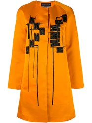 Talbot Runhof Munich Coat Silk Polyamide Spandex Elastane Cupro Yellow Orange