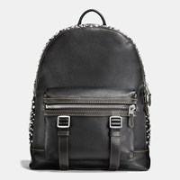 Coach Studs Flag Backpack In Pebble Leather Black Black
