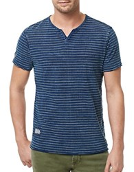 Buffalo David Bitton Striped V Neck Tee Indigo