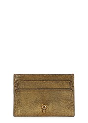 Alexander Mcqueen Skull Embellished Leather Card Holder Gold