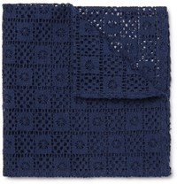 Marwood Cotton Lace Pocket Square Navy