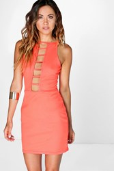 Boohoo Ribbed Ladder Front Bodycon Dress Coral
