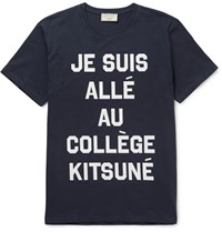 Maison Kitsune Slim Fit Printed Cotton Jersey T Shirt Blue