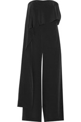 Tibi Draped Silk Jumpsuit Black