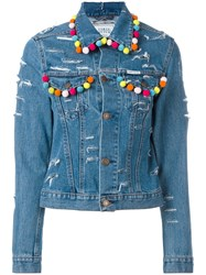 Forte Couture Pompom Denim Jacket Blue